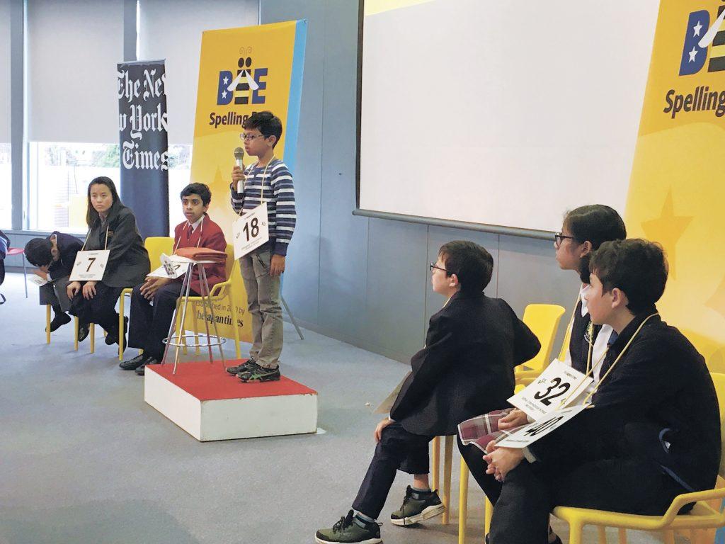 Kshitij Kumar from Kakegawa International Christian School spells a word during the 10th Japan Times Bee on March 10, 2019. | SAYURI DAIMON