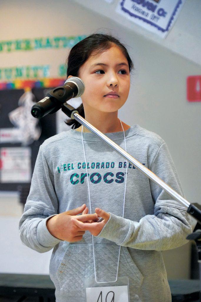 Coco Longstaff competes in the Fukuoka International School bee. | FUKUOKA INTERNATIONAL SCHOOL